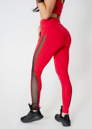 Glyde Red Mesh Leggings