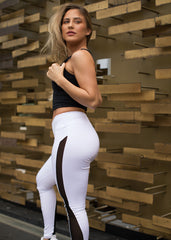 GLYDE WHITE SIDE MESH LEGGINGS