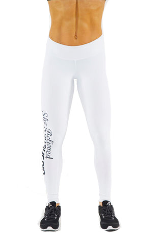 WHITE SHE BELIEVED SHE COULD SO SHE DID PRINTED LEGGINGS