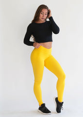 YELLOW SCRUNCH BOOTY LIFT LEGGINGS