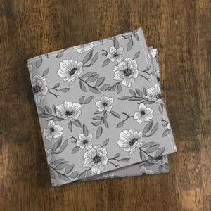 Gray Floral Pocket Square