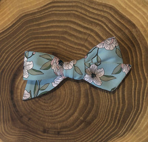 Dusty Blue Floral Hair Bow, Girl's Floral Hair Clip, Baby Headband, Flower Girl Hair Bow, Daddy Daughter Bow and Bow Tie, Bow, Gift for Baby
