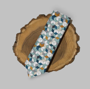 Teal and Orange Geometric Skinny Tie, Men's Skinny Tie, Patterned Tie, Teal Green Wedding Tie, Groomsmen Ties, Grooms Skinny Tie, Mens Tie