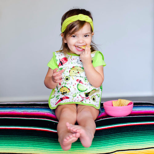 Taco Tuesday Baby bib with full coverage protection from spills. Baprons are better!