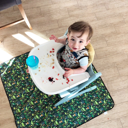 Dino Days Splash Mat - A Waterproof Catch-All for Highchair Spills and More!