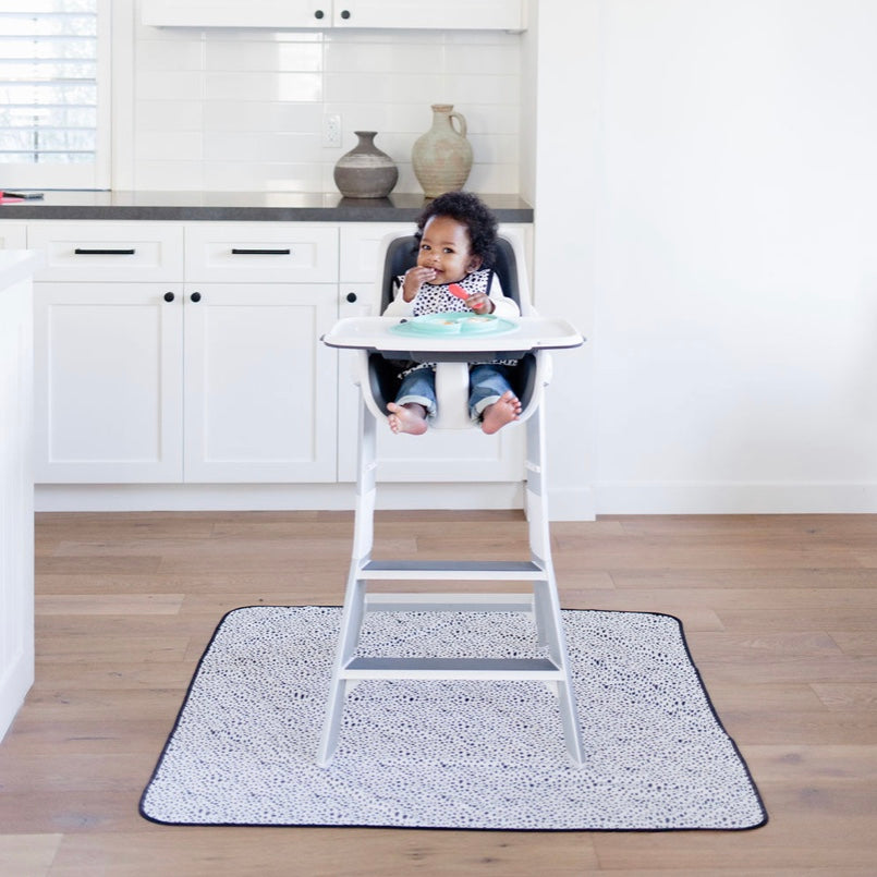 Organic Dot Splash Mat - A Waterproof Catch-All for Highchair Spills and More!