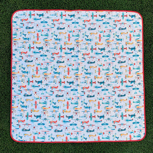 Retro Airplanes Splash Mat - A Waterproof Catch-All for Highchair Spills and More!