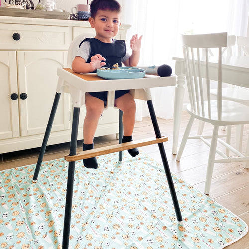 Cookies & Milk Splash Mat - A Waterproof Catch-All for Highchair Spills and More!