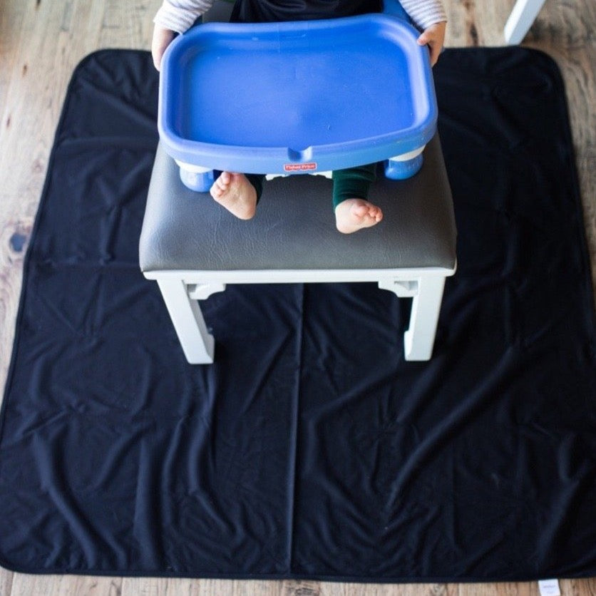 Black Splash Mat - A Waterproof Catch-All for Highchair Spills and More!