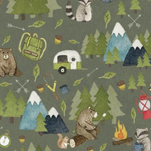 Load image into Gallery viewer, Camping Bears Splash Mat - A Waterproof Catch-All for Highchair Spills and More!