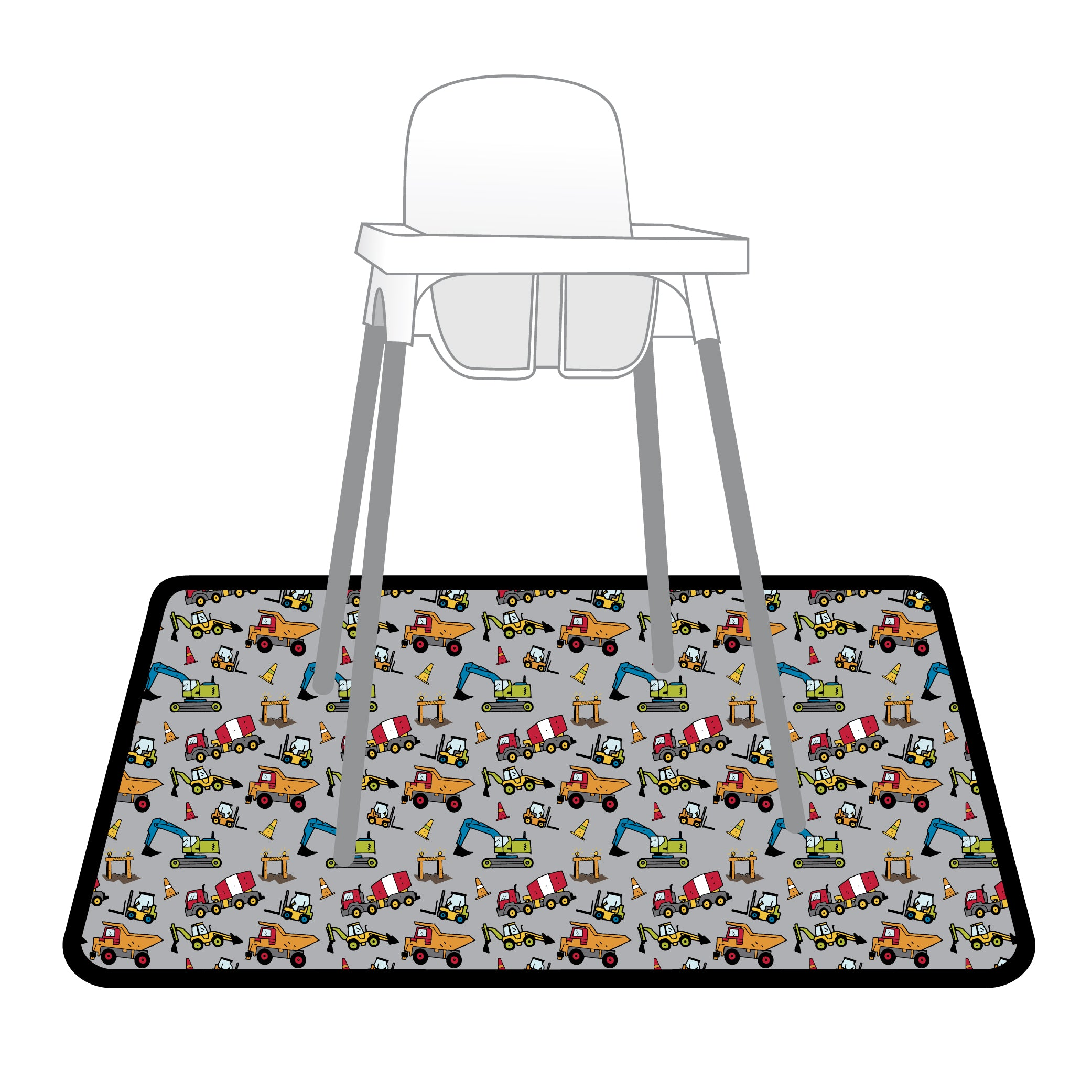 Construction Zone Splash Mat - A Waterproof Catch-All for Highchair Spills and More!