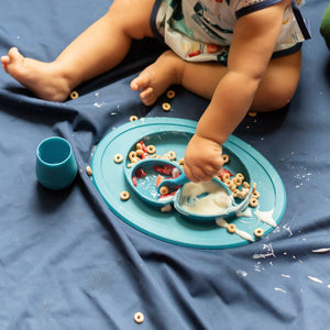 Navy Splash Mat - A Waterproof Catch-All for Highchair Spills and More!