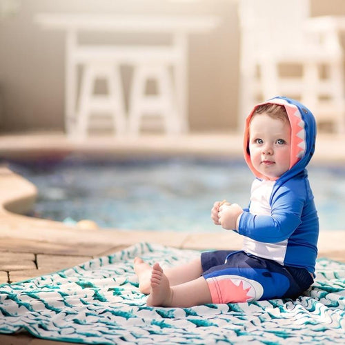 Shark Attack Splash Mat - A Waterproof Catch-All for Highchair Spills and More!