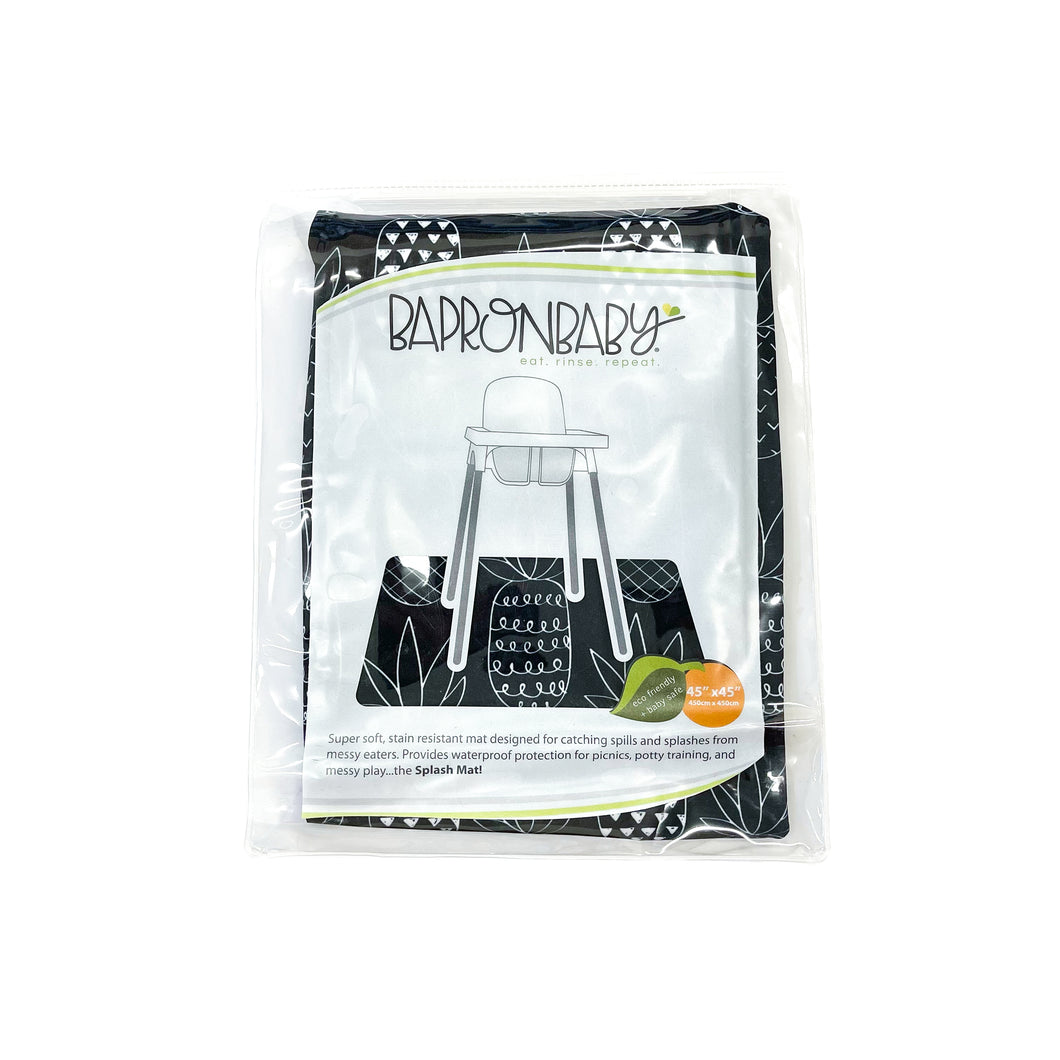 Pineapple Monochrome Splash Mat - A Waterproof Catch-All for Highchair Spills and More!