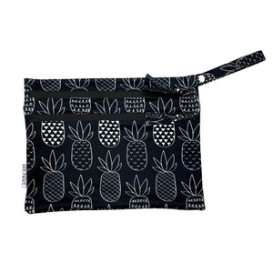Pineapple Monochrome - Waterproof Wet Bag (For mealtime, on-the-go, and more!)