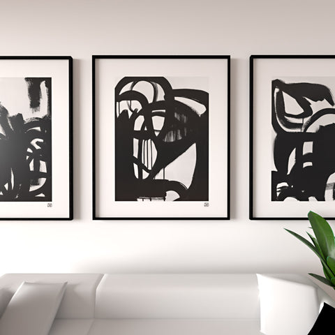 3 art prints in black and white