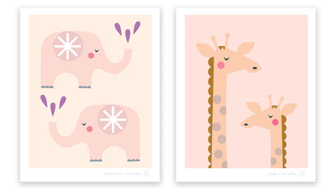 Elephant Twins and Giraffes art prints for the nursery by Mara Girling, Printspace