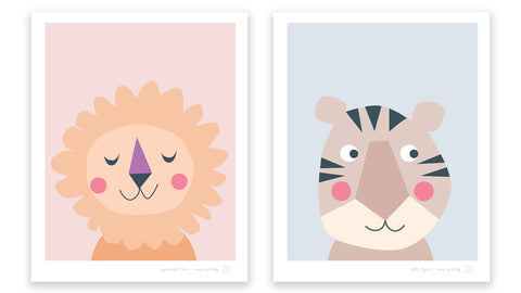 Goodnight Lion and Hello Tiger art prints for the nursery by Mara Girling, Printspace