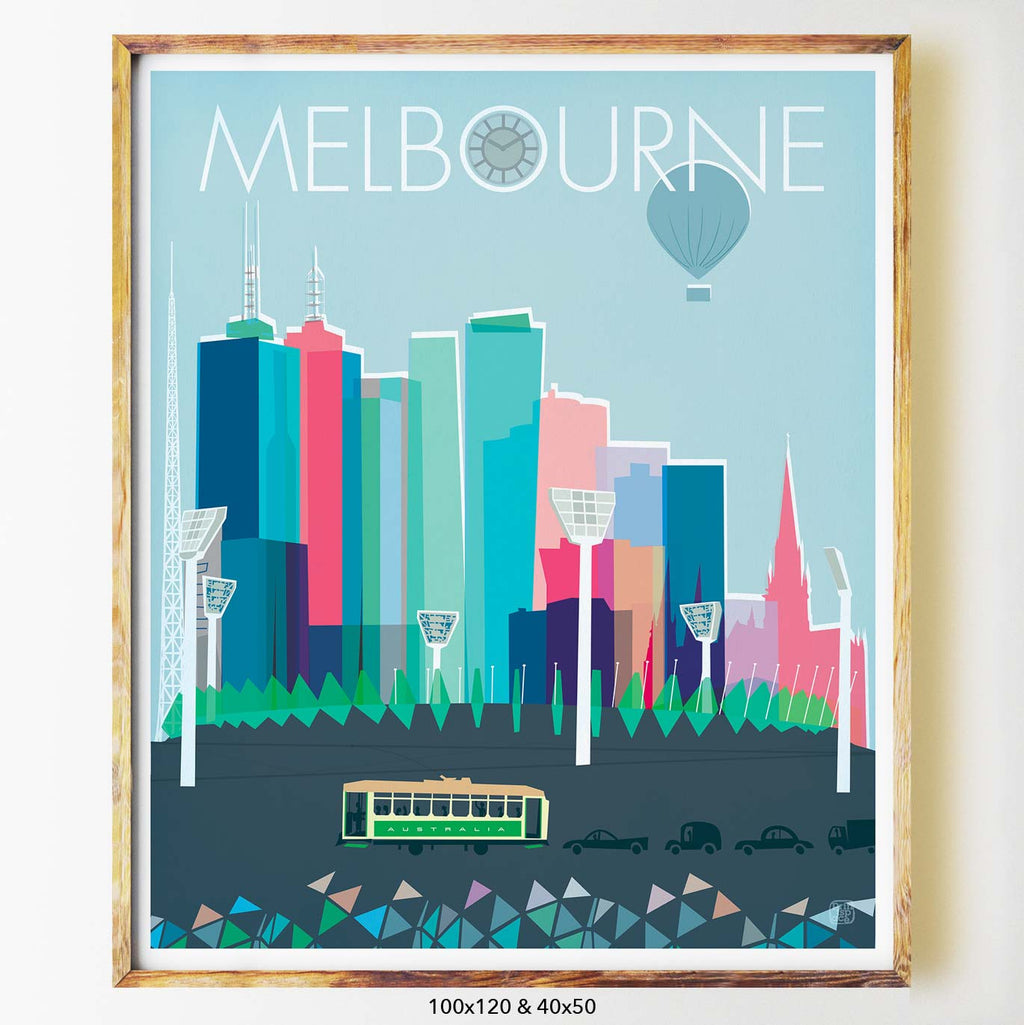 Melbourne city print art print poster Nicholas Girling Printspace 100x120cm Melbourne Australia artist abstract modern hot air balloon architecture mcg footy tram cbd traffic buildings colourful graphic art mid century