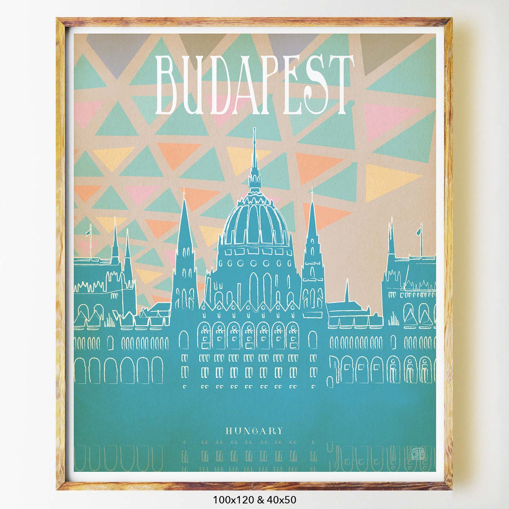 Budapest art print city print poster Nicholas Girling Printspace 100x120cm Melbourne Australia artist abstract modern architecture hungary pastel illustration