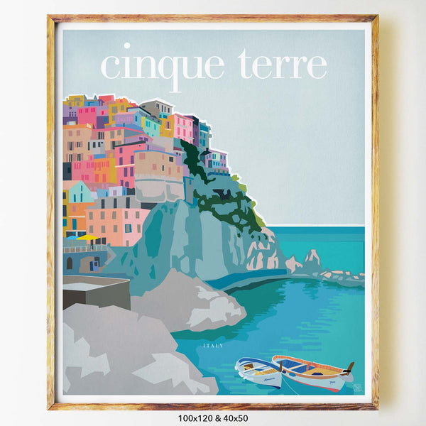 Cinque terre city print art print  Nicholas Girling Printspace 100x120cm Melbourne Australia artist abstract modern coastal italy boat buildings cliffside sea colourful town