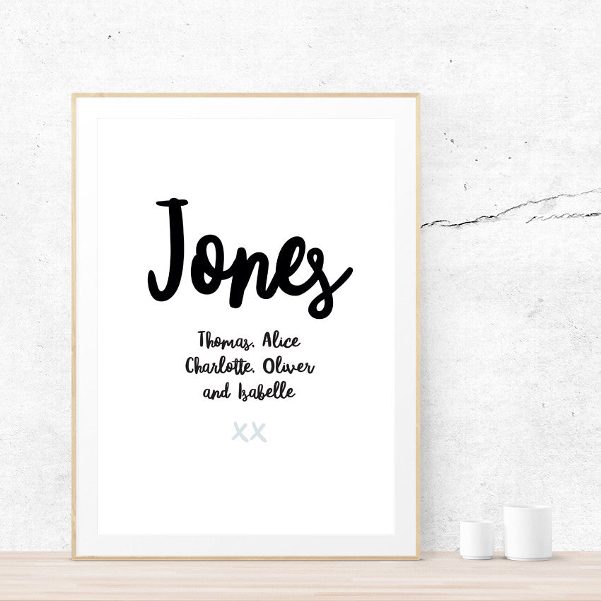 Family Names Art Print