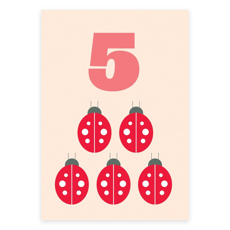 Five Ladybirds Greeting Card
