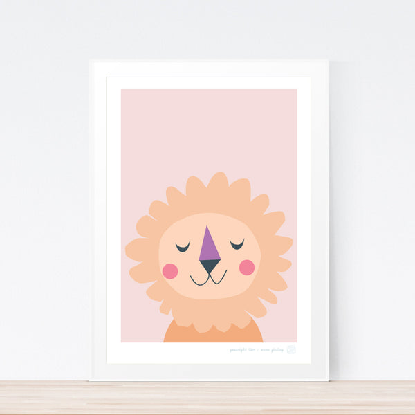Goodnight Lion nursery art print by Mara Girling Printspace