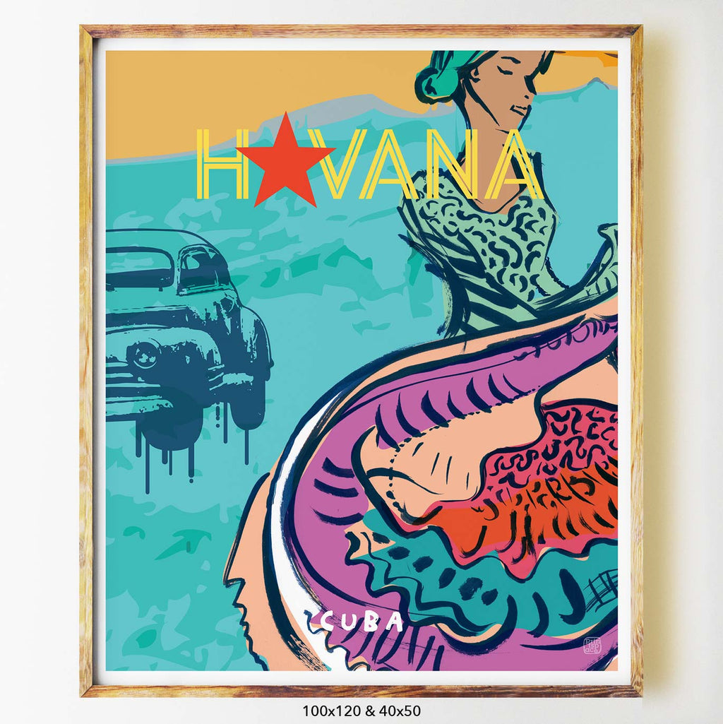 Havana art print city print poster Nicholas Girling Printspace 70x100cm Melbourne Australia artist abstract modern cuba colourful graphic art car typography