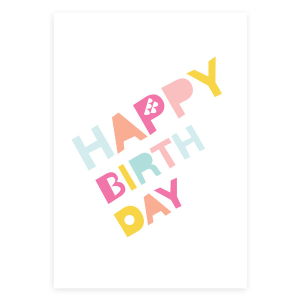 Happy Birthday Pastel Greeting Card
