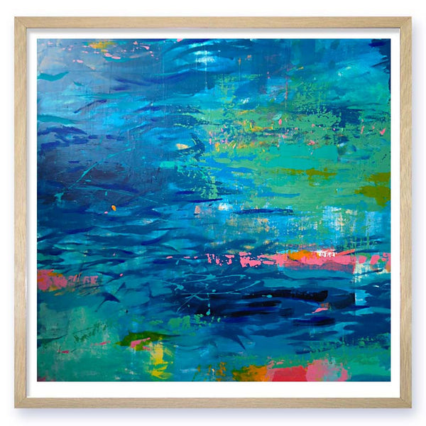 Little river blue Abstract Landscape Art Print Nicholas Girling painting printspace