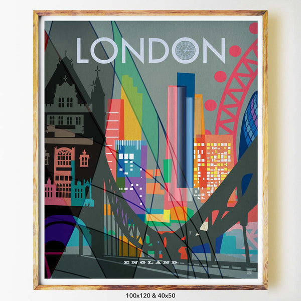 London art print city print poster Nicholas Girling Printspace 100x120cm Melbourne Australia artist abstract modern london bridge grey london eye gerkin