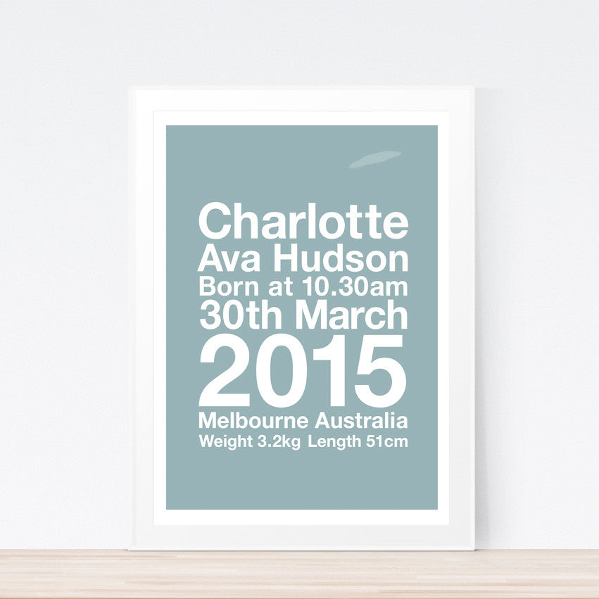 Modern birth print Printspace wall art nursery baby room personalised gift birth notice baby room decor Melbourne Australia birth details unique gift baby gift modern typography minimal nursery