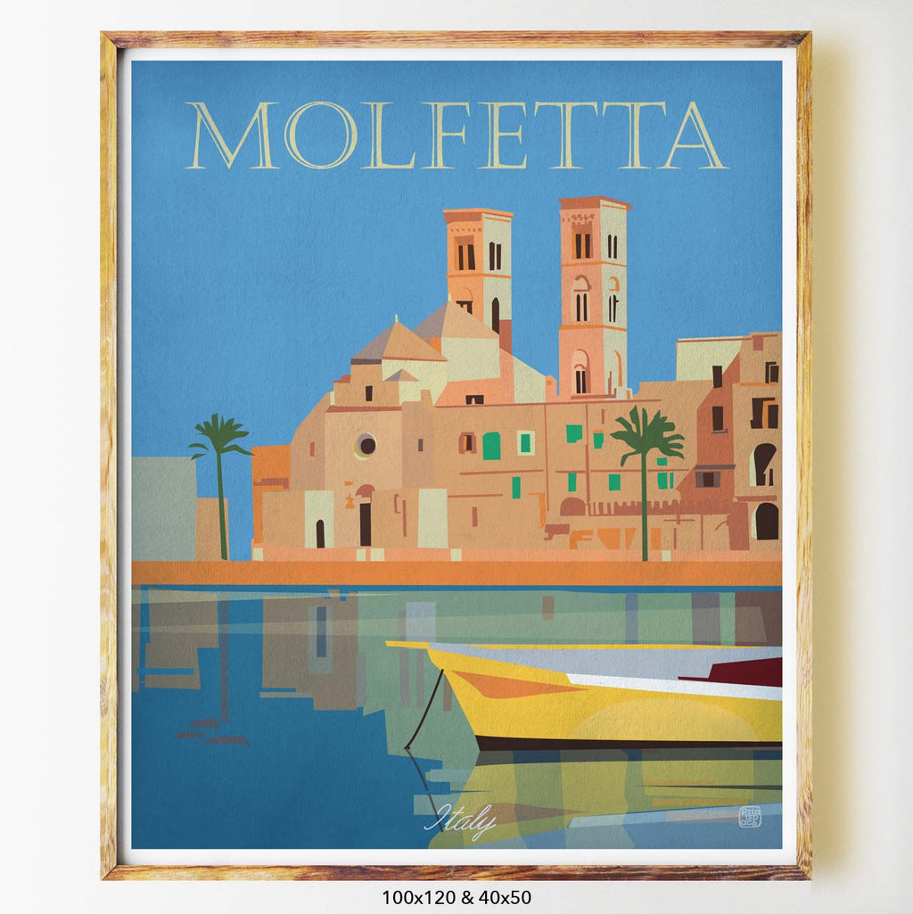 Molfetta art print city print poster Nicholas Girling Printspace 70x100cm Melbourne Australia artist abstract modern italy boat coastal town architecture palm trees reflection