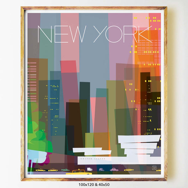 New York city print poster print three guggenheim nicholas girling art 100x120