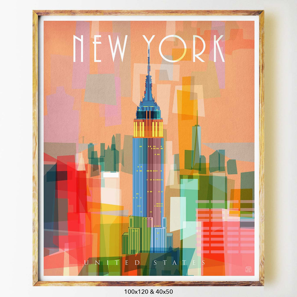 New York art print city print poster Nicholas Girling Printspace 70x100cm Melbourne Australia artist abstract modern united states buildings city architecture empire state building colourful graphic art