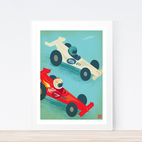 Racer Car Kids art print poster Printspace Nicholas Girling wall art Melbourne Australia illustration graphic colour modern kids room decor cars racing blue  red iconic graphic art flames fast numbers race speed