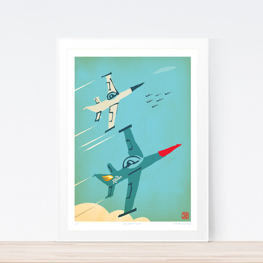 Racer Jet Kids art print poster Printspace Nicholas Girling wall art Melbourne Australia illustration graphic colour modern kids room decor planes jet racing blue red iconic graphic art fast race sky flames flying