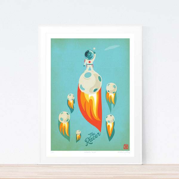 Racer Meteoric Kids art print poster Printspace Nicholas Girling wall art Melbourne Australia illustration graphic colour modern kids room decor meteor space racing blue red iconic graphic art fast race sky flames flying planet speed