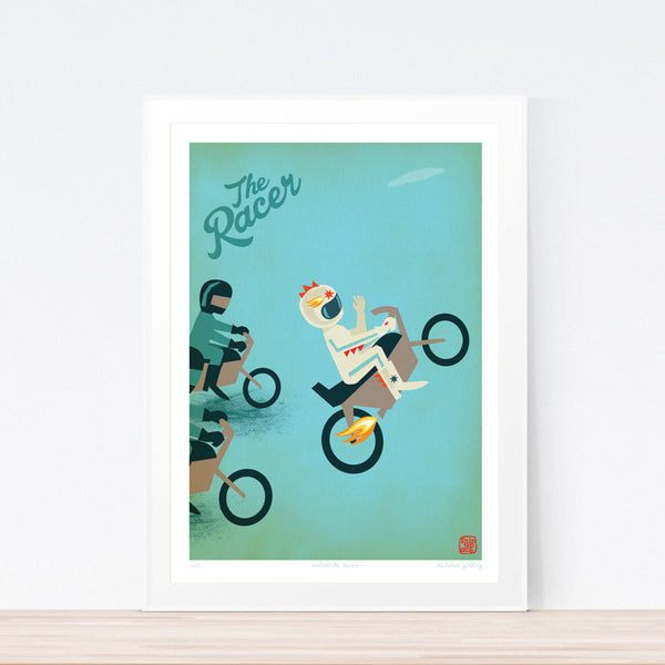 Racer Motorbike Kids art print poster Printspace Nicholas Girling wall art Melbourne Australia illustration graphic colour modern kids room decor motorbike wheels fast speed race racer flames wheels