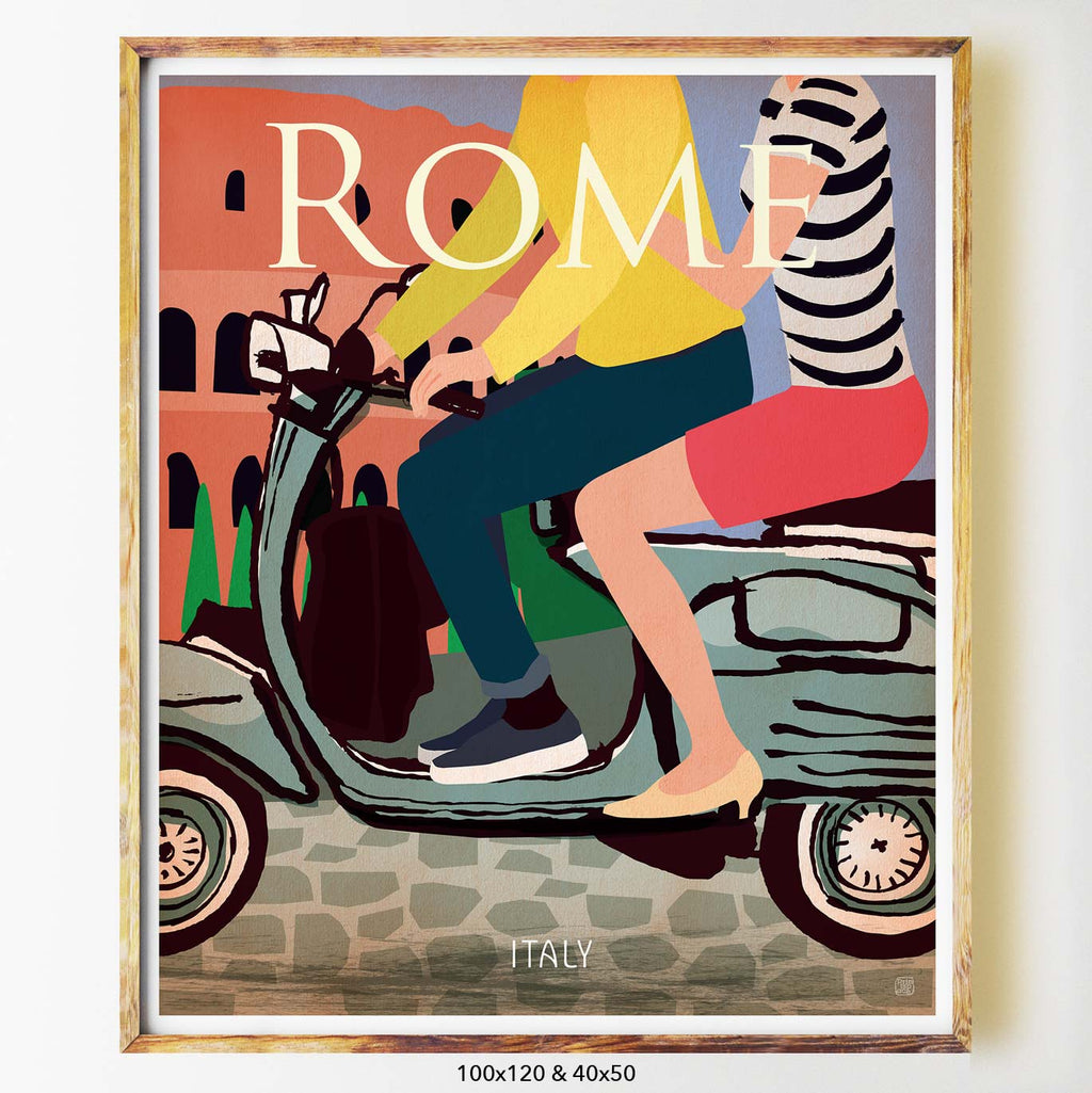 Rome art print city print poster Nicholas Girling Printspace 100x120cm Melbourne Australia artist abstract modern italy cobble stones vespa love couple
