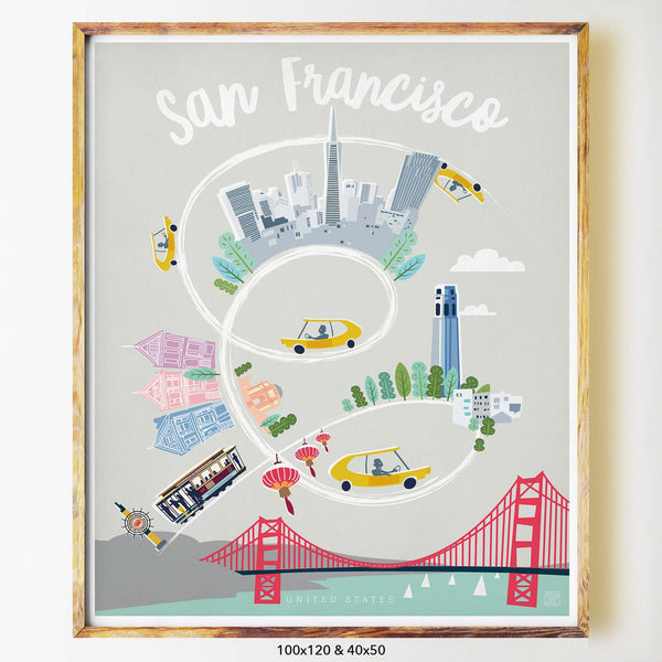 San Francisco art print city print poster Nicholas Girling Printspace 100x120cm Melbourne Australia artist abstract modern united states golden gate bridge cityscape architecture
