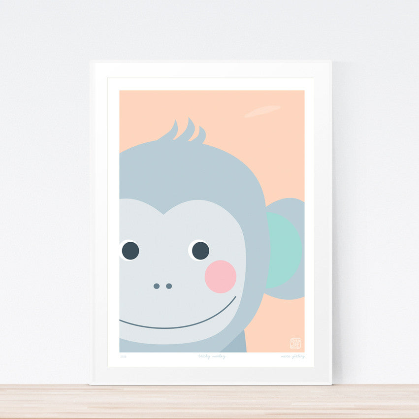 Tricky Monkey Nursery art print poster Printspace Mara Girling  wall art  Melbourne Australia graphic animal art monkey face cute modern kids room decor