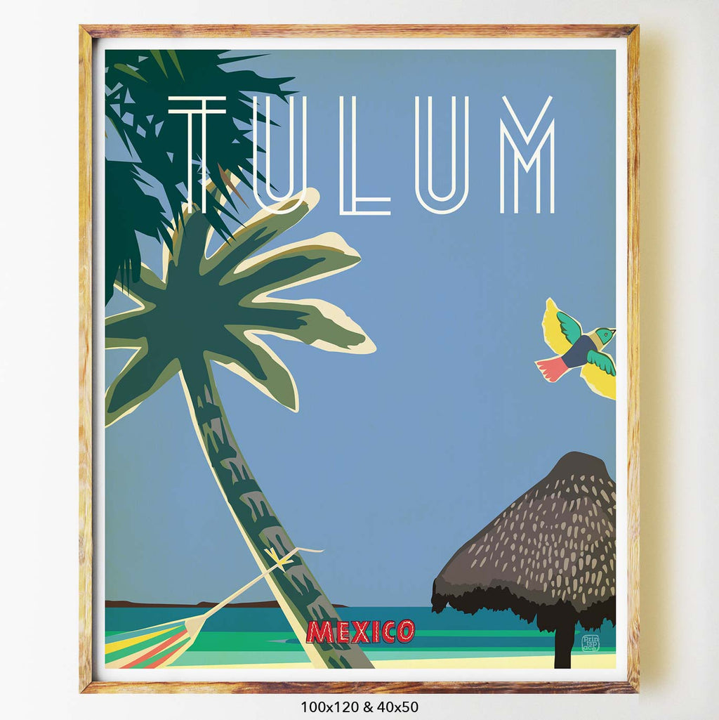 Tulum art print city print poster Nicholas Girling Printspace 70x100cm Melbourne Australia artist abstract modern mexico palm tree hammock beach coastal blue skies relax