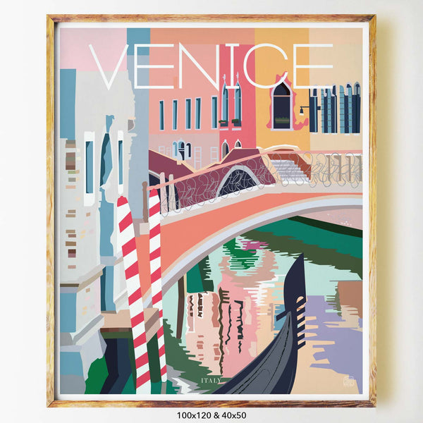 venice city print art print poster nicholas girling mid century italy italian water