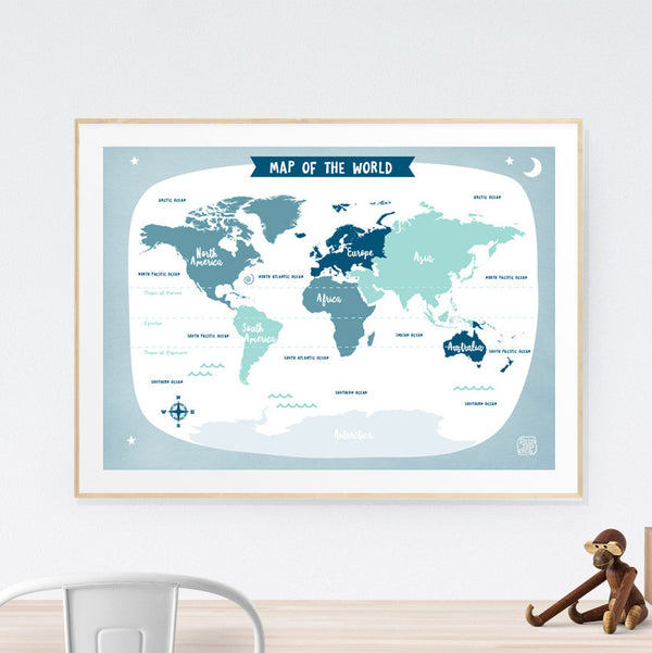 World Map Kids art print poster Printspace Mara Girling wall art Melbourne Australia illustration graphic colour modern kids room decor world adventure travel explore pastel countries blue grey
