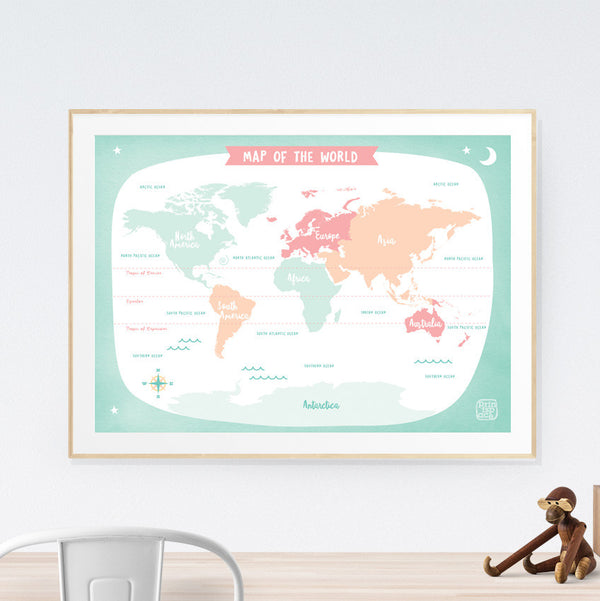 World Map Kids art print poster Printspace Mara Girling wall art Melbourne Australia illustration graphic colour modern kids room decor world adventure travel explore pastel countries green