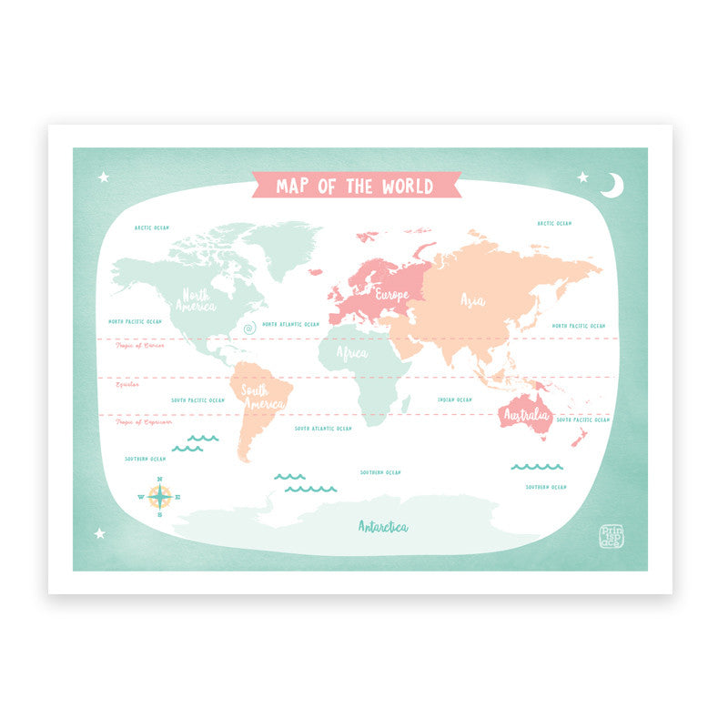 World map green art print printspace illustration contemporary world map kids art print poster printspace mara girling wall art melbourne australia illustration graphic colour gumiabroncs