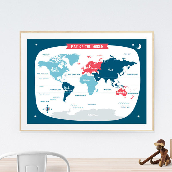 World Map Kids art print poster Printspace Mara Girling wall art Melbourne Australia illustration graphic colour modern kids room decor world adventure travel explore pastel countries navy red