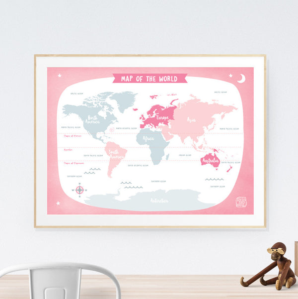 World Map Kids art print poster Printspace Mara Girling wall art Melbourne Australia illustration graphic colour modern kids room decor world adventure travel explore pastel countries pink grey